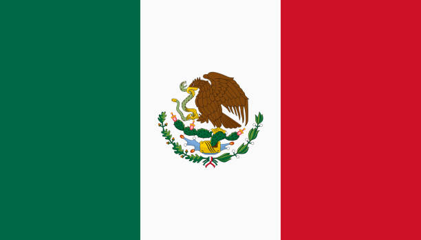 Vector flag of Mexico. Proportion 4:7. Mexican national tricolor flag. Tricolor. vector art illustration