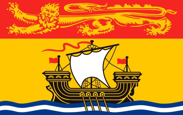 ilustrações, clipart, desenhos animados e ícones de vector bandeira da província de new brunswick, canadá - bandeira union jack