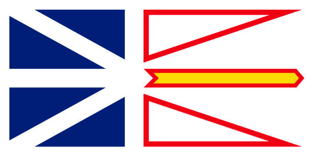 ilustrações, clipart, desenhos animados e ícones de vector bandeira de terra nova e labrador canada.st. johns - bandeira union jack