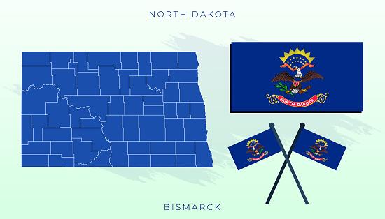 Vector flag of North Dakota, North Dakota map, illustration