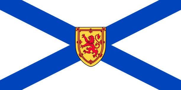 ilustrações, clipart, desenhos animados e ícones de vector bandeira da província de nova escócia, canadá. halifax, cape breton - bandeira union jack