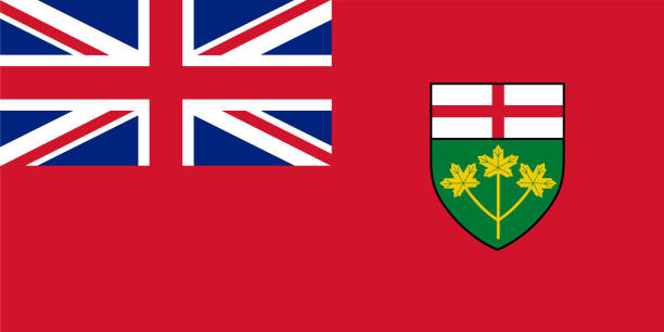 Vector flag of Ontario, province of Canada. Toronto Vector flag of Ontario, province of Canada. Toronto mississauga stock illustrations