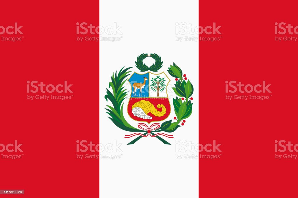 Vector flag of Peru. Proportion 2:3. Peruvian national bicolor flag. vector art illustration