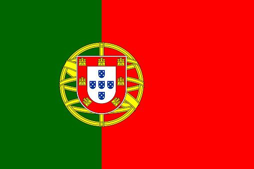 Vector flag of Portugal. Proportion 2:3. Portuguese national bicolor flag. Bandeira das Quinas.