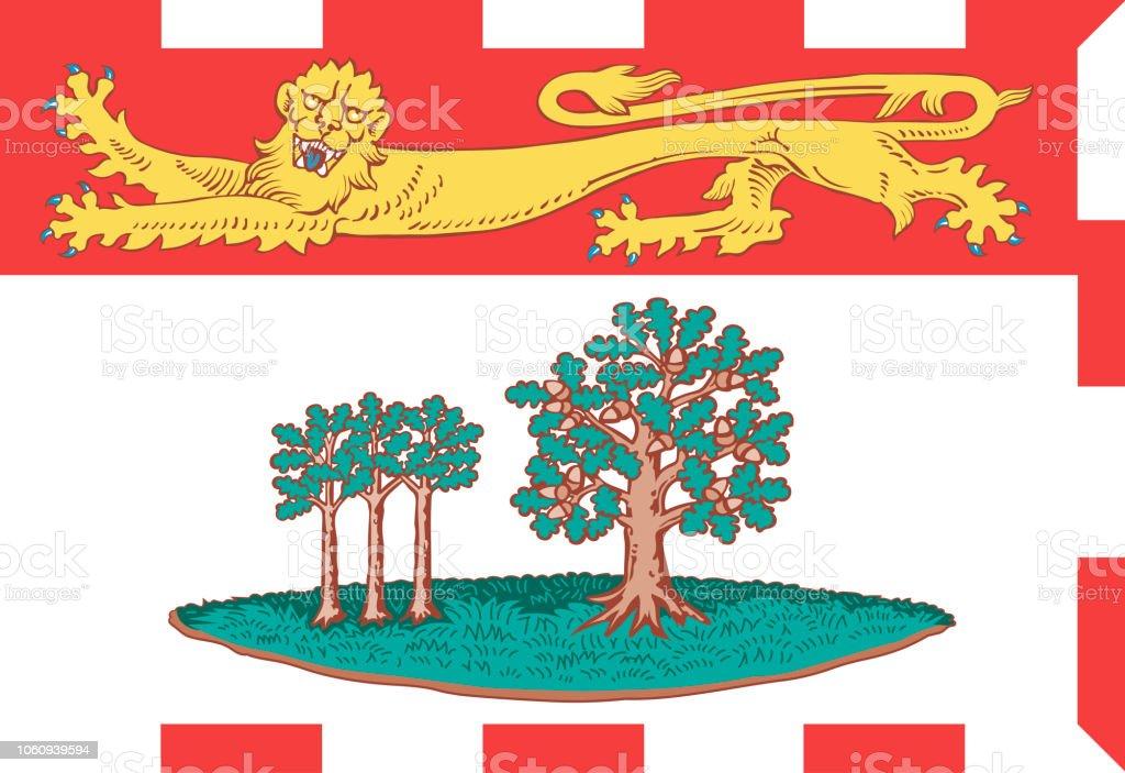 Vector bandeira da ilha do Príncipe Eduardo, província do Canadá - ilustração de arte em vetor