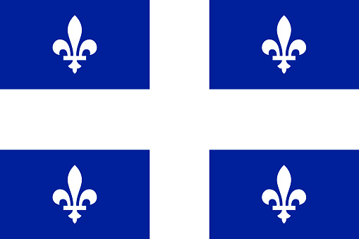 Vector flag of Quebec province Canada. Montreal, Quebec, Laval