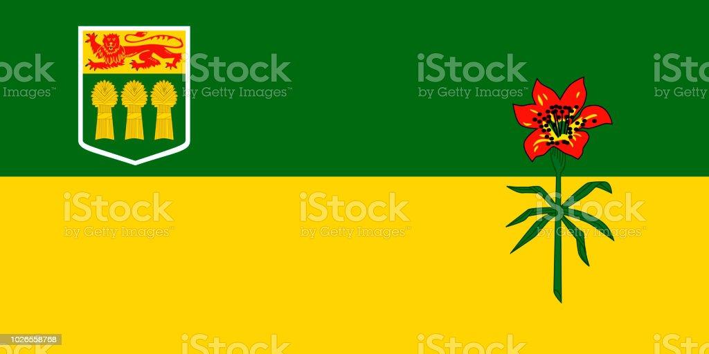 Vector bandeira da província de Saskatchewan, Canadá. Saskatoon, Regina - ilustração de arte em vetor