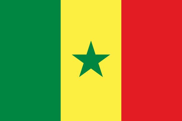 vector flag of senegal. proportion 2:3. senegalese national tricolor flag. tricolor. - senegal stock illustrations