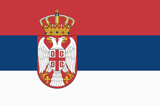 Vector flag of Serbia. Proportion 2:3. Serbian national tricolor flag. Tricolor.