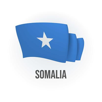 Vector flag of Somalia. Somali waving flag. Vector illustration.