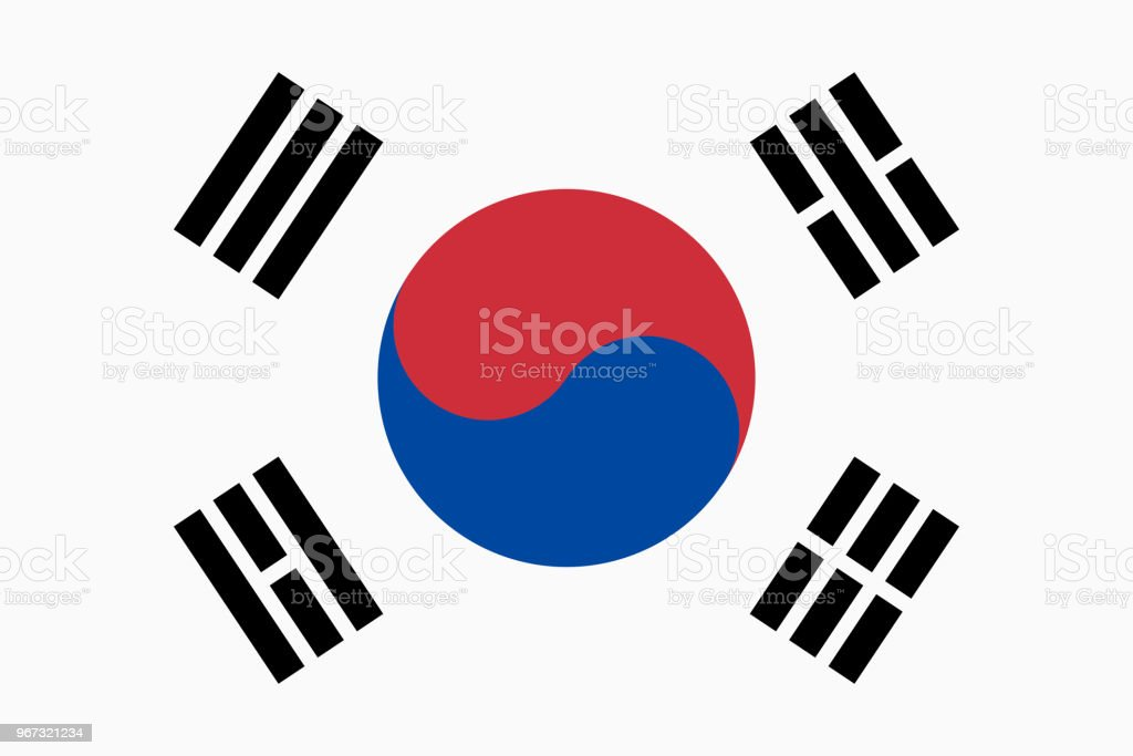 Vector flag of South Korea. Proportion 2:3. South Korean national flag. Taegukgi. vector art illustration