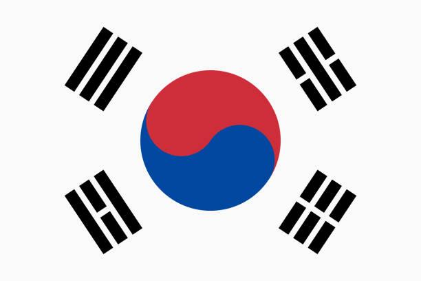 stockillustraties, clipart, cartoons en iconen met vector vlag van zuid-korea. deel 2:3. zuid-koreaanse nationale vlag. taegukgi. - korea
