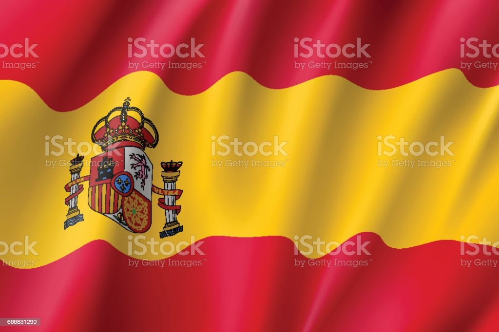 Vector flag of Spain country vector art illustration