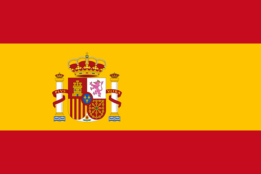 Vector flag of Spain. Proportion 2:3. Spanish national bicolor flag. Rojigualda.