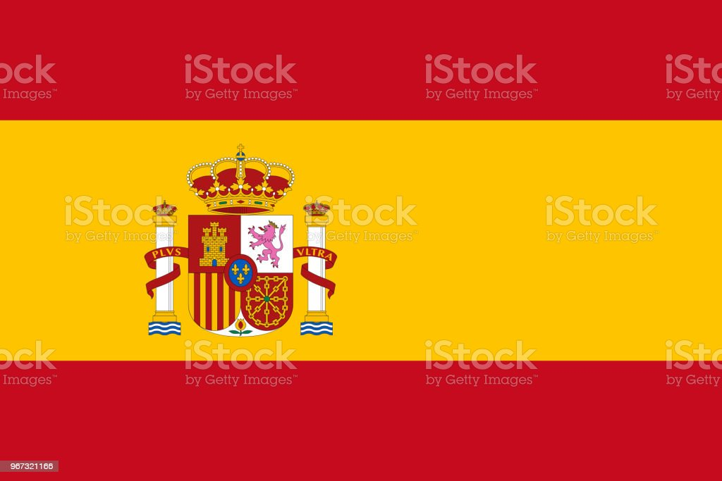 Vector flag of Spain. Proportion 2:3. Spanish national bicolor flag. Rojigualda. vector art illustration