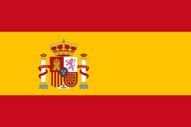 Vector drapeau de l'Espagne. Proportion 2:3. Drapeau bicolore national espagnol. Rojigualda. - Illustration vectorielle
