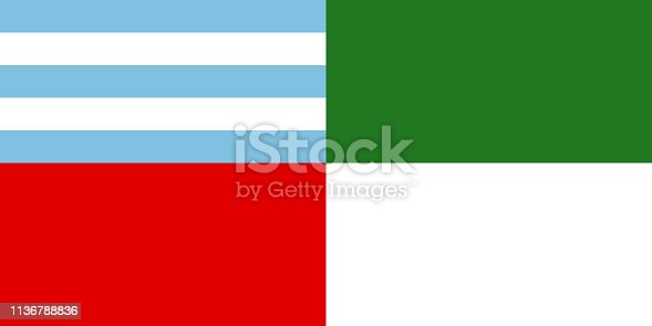 istock Vector flag of Sucre, Bolivia. Official flag of Sucre city, Bolivia, vector illustration 1136788836
