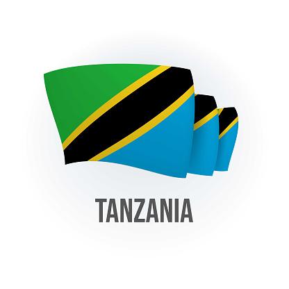 Vector flag of Tanzania. Tanzanian waving flag. Vector illustration.