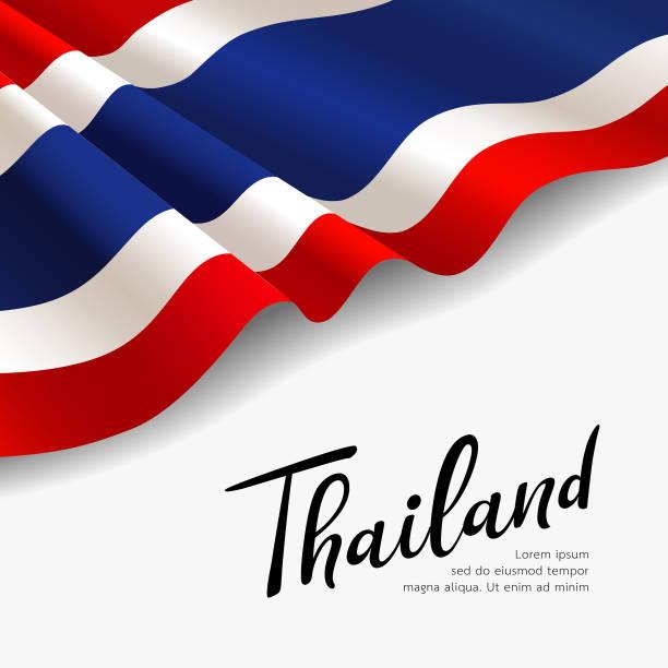 ilustraciones, imágenes clip art, dibujos animados e iconos de stock de bandera vectorial de tailandia. diseño de tela fondo - bandera tailandesa