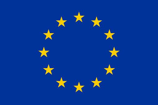 Vector flag of the European Union. Proportion 2:3. Flag of Europe. The European Flag. Twelve Golden Stars. Unity of Europe. EU Flag.