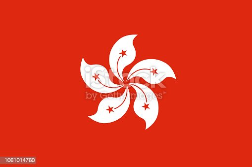Vector flag of the Hong Kong Special Administrative Region of the People's Republic of China. Proportion 2:3. The national flag of Hong Kong. Vector EPS 10