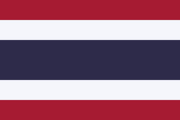 vector flag of the kingdom of thailand. proportion 2:3. the national flag of thailand. the tricolor flag. - thai flag stock illustrations, clip art, cartoons, & icons