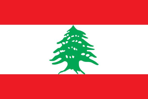vektor-fahne der libanesischen republik. verhältnis 2:3. die nationalflagge des libanon. - beirut stock-grafiken, -clipart, -cartoons und -symbole