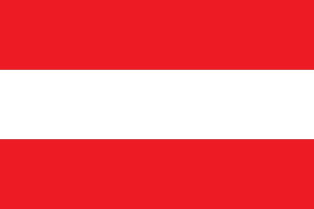illustrazioni stock, clip art, cartoni animati e icone di tendenza di vector flag of the republic of austria. proportion 2:3. the national flag of austria. the bicolor triband. - austria