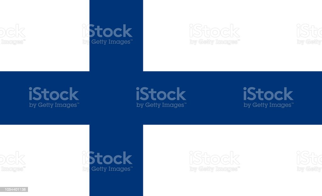 Vector flag of the Republic of Finland. Proportion 11:18. The national flag of Finland. Blue Cross Flag. vector art illustration
