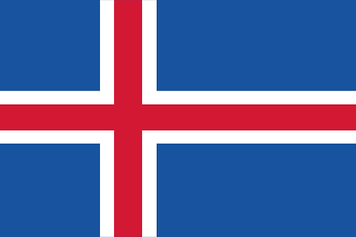 Vector flag of the Republic of iceland. National flag of iceland. illustration
