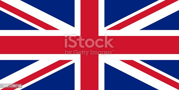 Vector flag of the United Kingdom of Great Britain and Northern Ireland. Proportion 1:2. The national flag of the United Kingdom. Union Jack. Union flag. British flag. UK flag. Vector EPS 10
