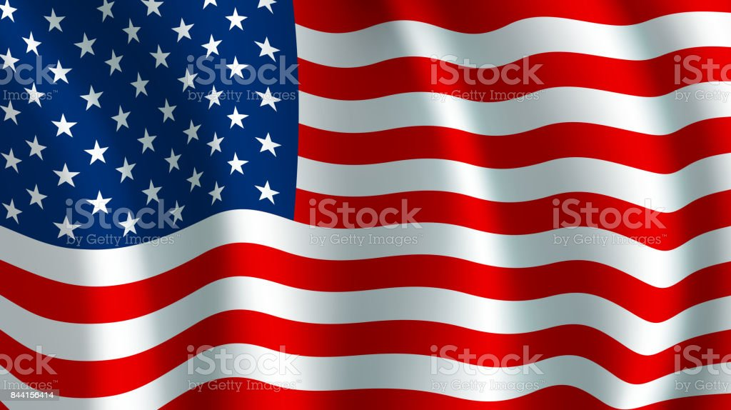 Vector flag of USA. American national symbol vector art illustration