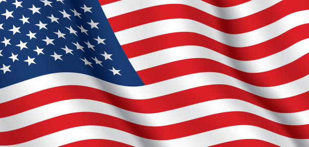 векторный флаг сша. - american flag stock illustrations