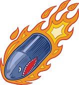 Vector Flaming Bullet or Artillery Shell Mascot with Shark Face