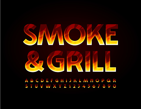 Vector flaming sign Smoke and Grill. Burning Alphabet Letters and Numbers set