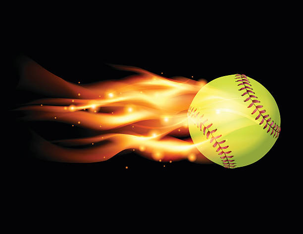 vector flaming softball illustration - softball stock illustrations, clip art, cartoons, & icons
