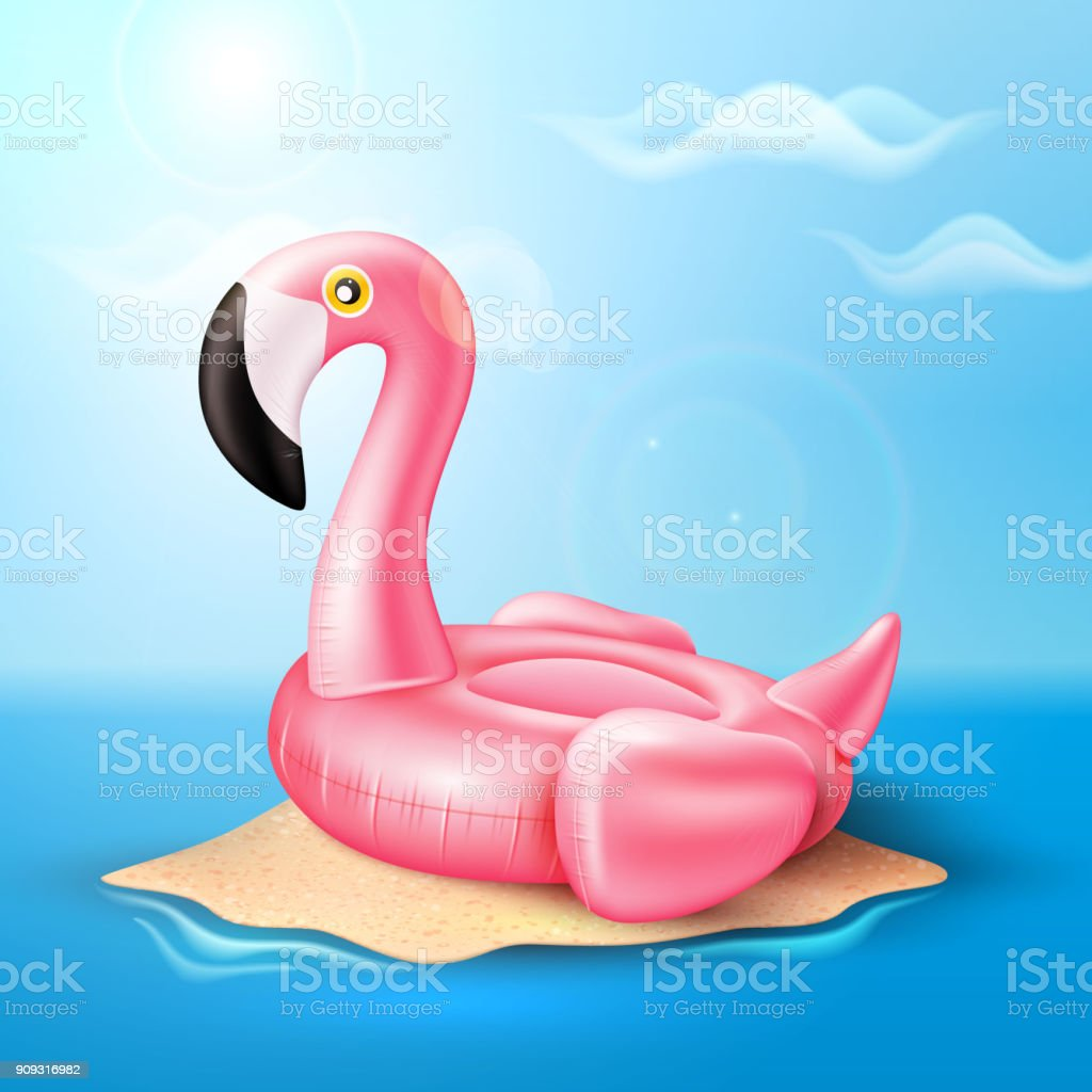 Vector flamingo inflatable pool ring on beach vector art illustration