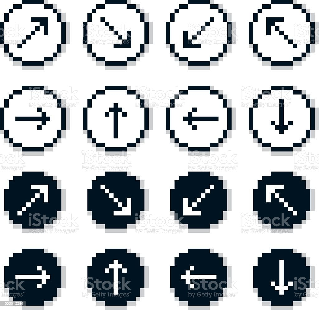 Vector flat 8 bit icons, arrows set, digital web signs. vector art illustration