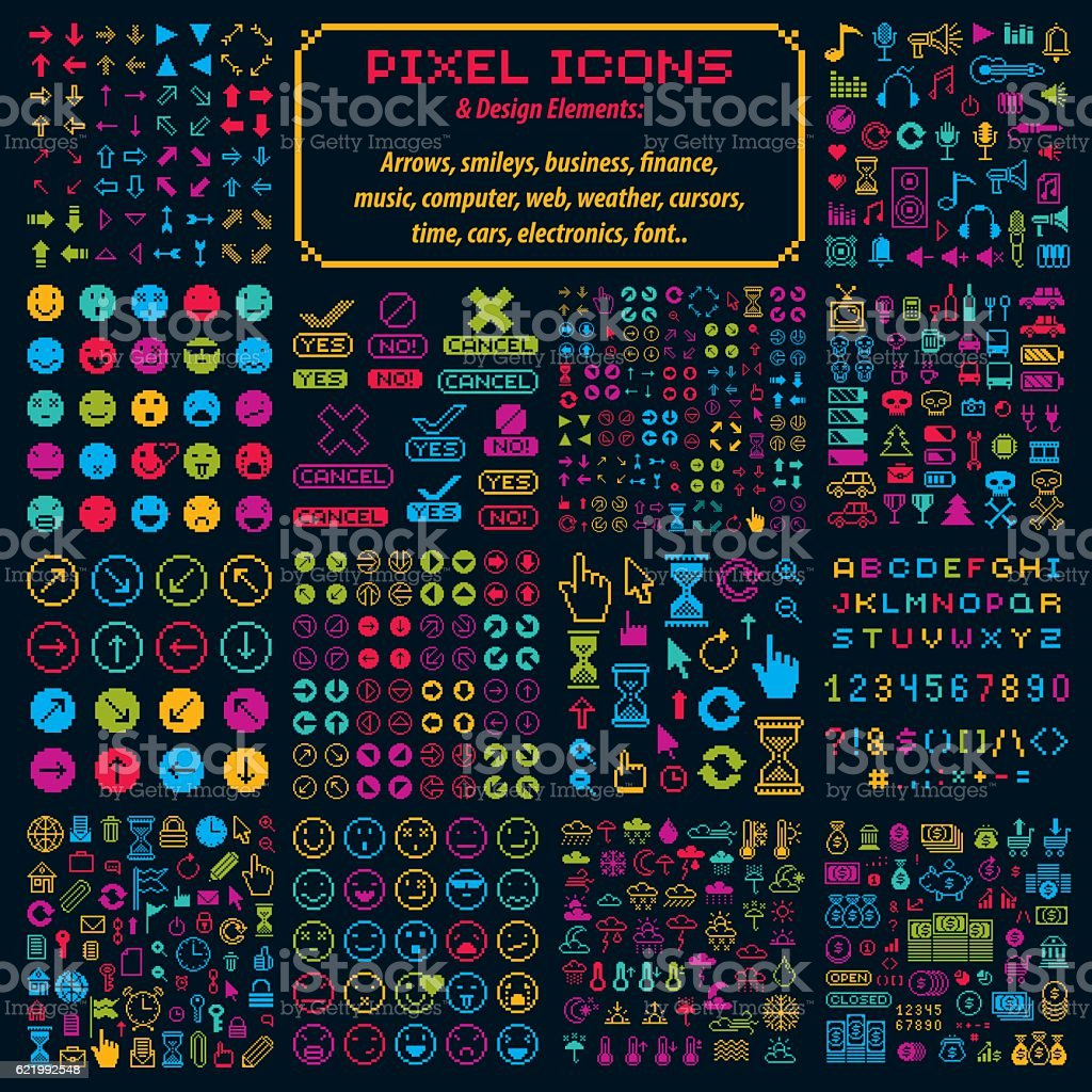 Vector flat 8 bit icons, collection of geometric pixel symbols vector art illustration