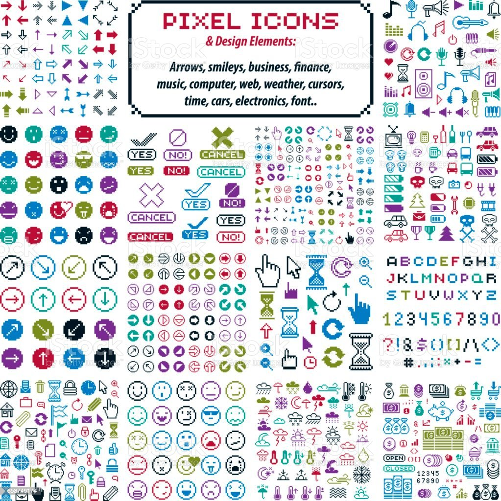 Vector Flat 8 Bit Icons Collection Of Simple Geometric Pixel Symbols