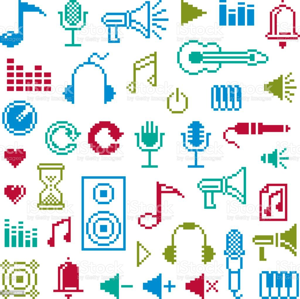 Vector flat 8 bit musical icons, collection of simple geometric pixel symbols. Digital web signs.