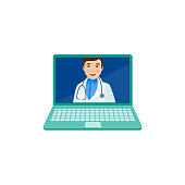 vector flat adult male doctor in laptop