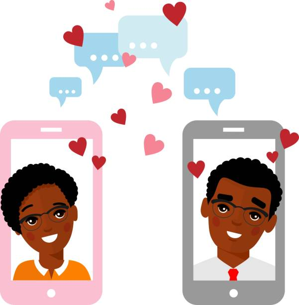 Vector flat african american lover concept on the smartphone screen sent a message of love. Cute cartoon illustration of people in love in a mobile phone. Communication of lovers by phone. Lovers chat online on the Internet. african american valentine stock illustrations