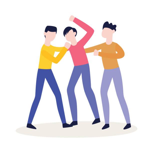 ilustrações de stock, clip art, desenhos animados e ícones de vector flat angry men fighting with aggression - puxar cabelos
