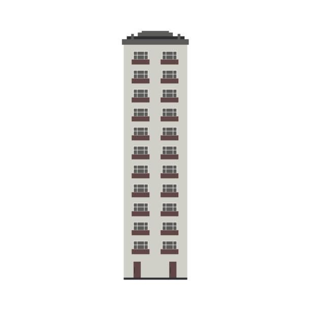 ilustrações de stock, clip art, desenhos animados e ícones de vector flat apartment, residental building - obras em casa janelas