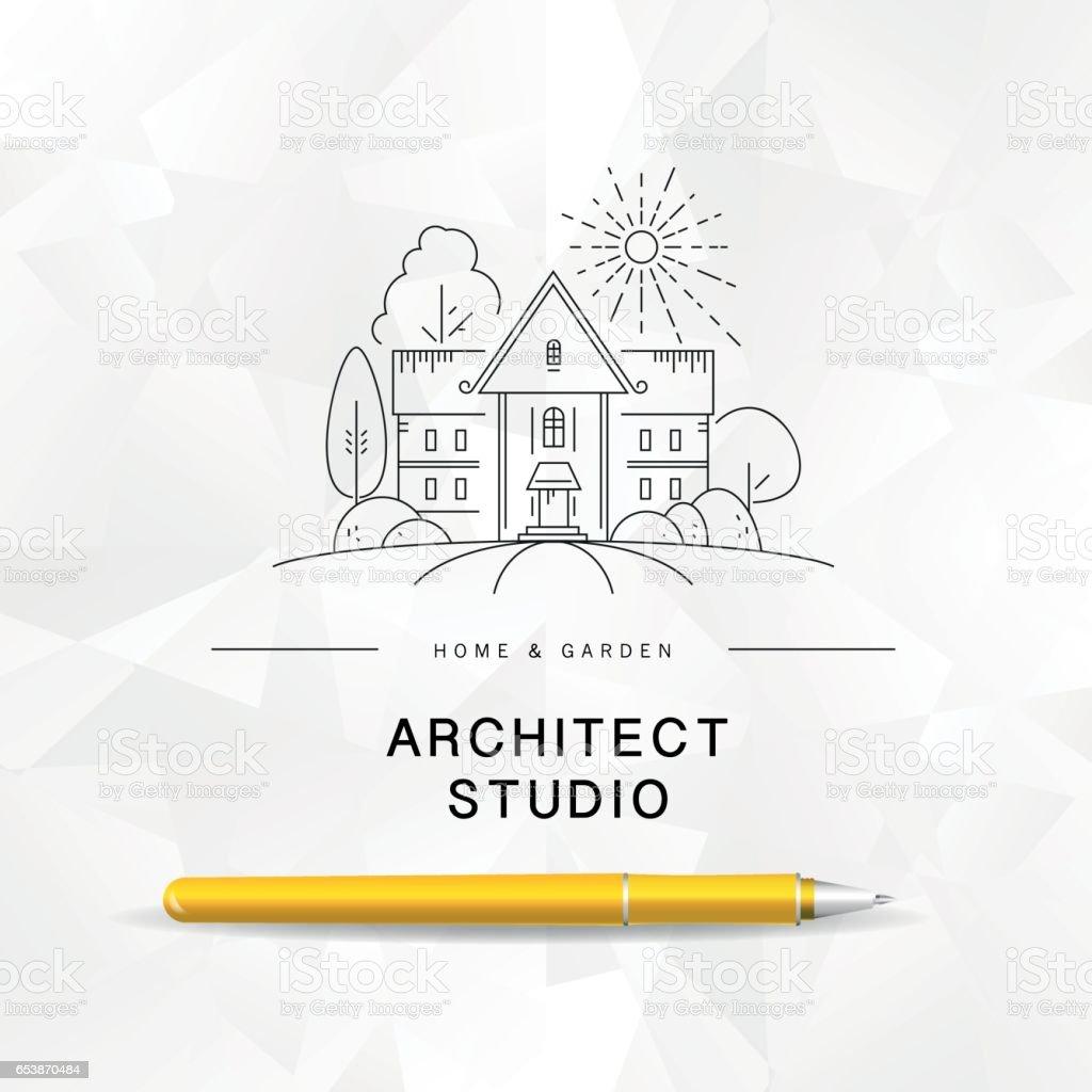 ベクトル フラット建築スタジオのロゴ デザイン ベクターアートイラスト