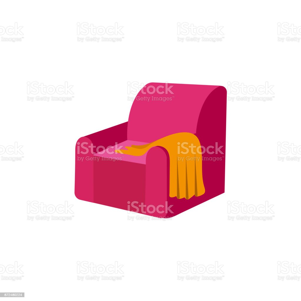 vector flat armchair with woolen blanket or rug. vector art illustration