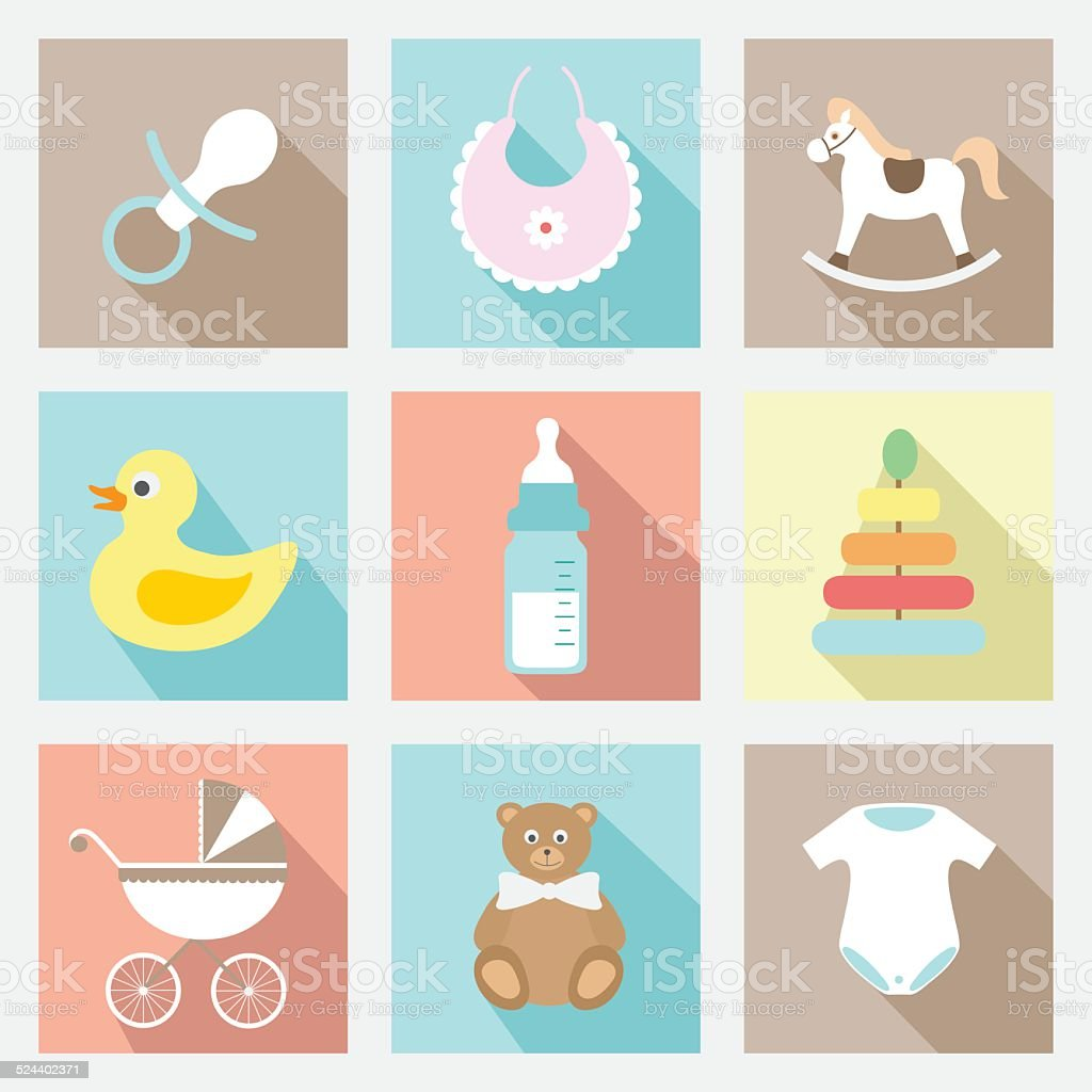 vector flat baby icons set vector art illustration