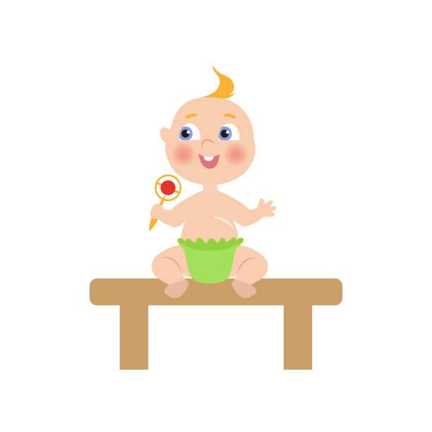 vektor flache baby kleinkind mit nippel und windel - wickeltisch stock-grafiken, -clipart, -cartoons und -symbole