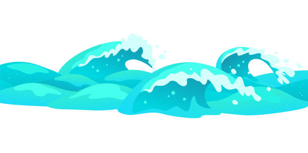 Vector flat background illustration of water waves isolated on white background. vector art illustration